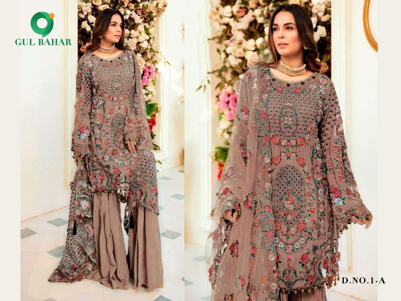 Gul Bahar Colour Hits Vol 1 Heavy Net With Embroidery Work Pakistani Suits Collection 01