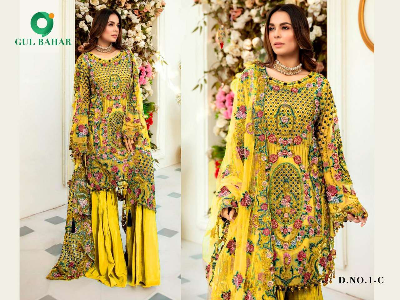 Gul Bahar Colour Hits Vol 1 Heavy Net With Embroidery Work Pakistani Suits Collection 02