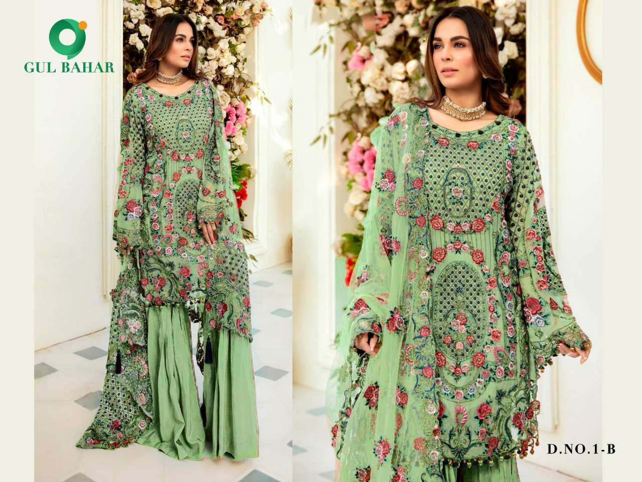 Gul Bahar Colour Hits Vol 1 Heavy Net With Embroidery Work Pakistani Suits Collection 03