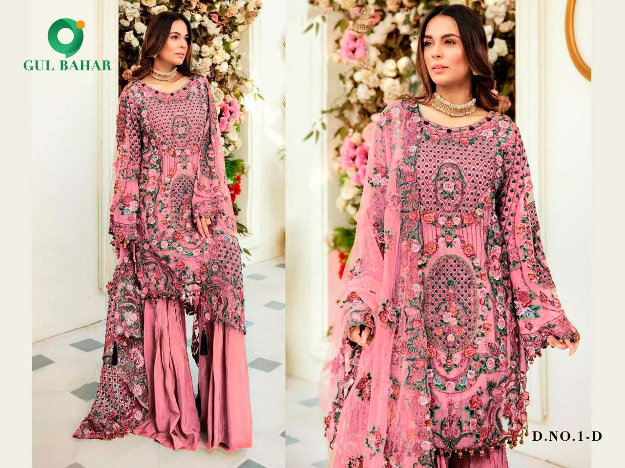 Gul Bahar Colour Hits Vol 1 Heavy Net With Embroidery Work Pakistani Suits Collection 05