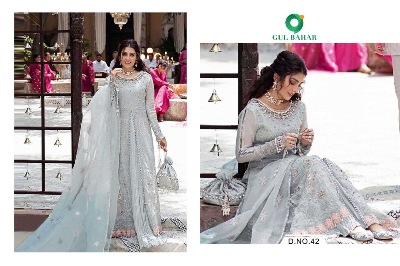 Gul Bahar Mushq Vol 1 Butterfly Net With Embroidery Work Readymade Suits Collection 01