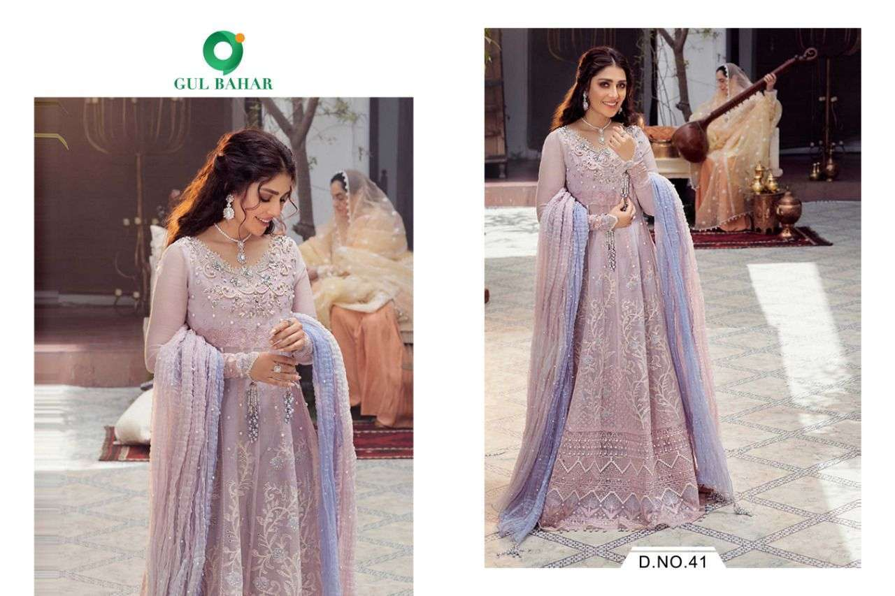 Gul Bahar Mushq Vol 1 Butterfly Net With Embroidery Work Readymade Suits Collection 02