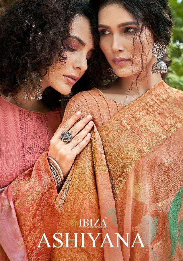Ibiza Ashiyana Muslin Silk With Fancy Embroidery Work Dress Material Collection
