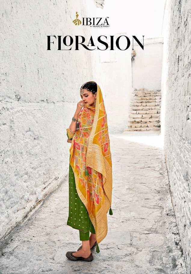Ibiza Florasion Chinon Jacquard With Embroidery Work Dress Material Collection