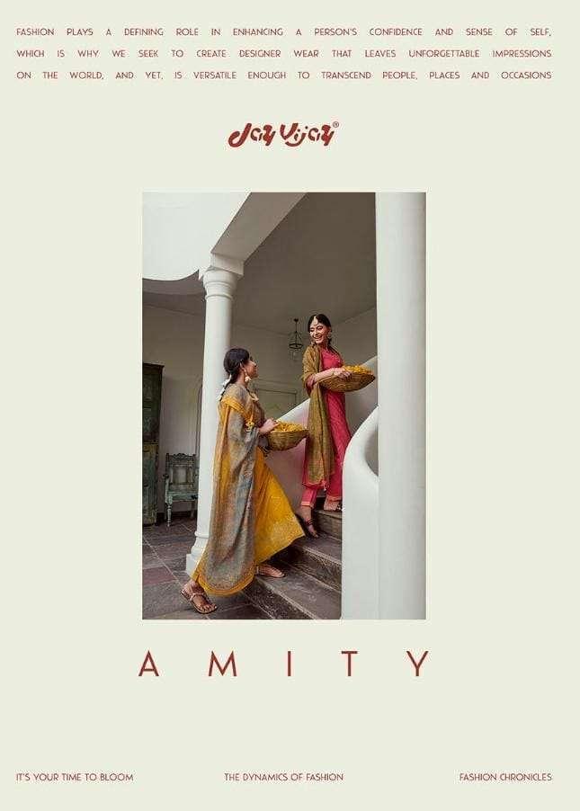 Jay Vijay Amity Moga Silk Foil print With Work dress Material Collection