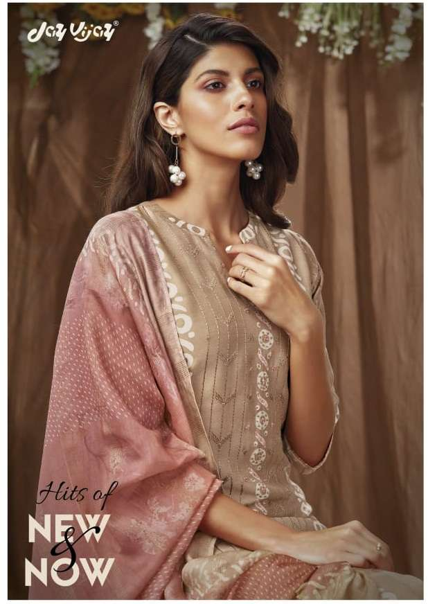 Jay Vijay Hits Of New & now Silk Batik print With Embroidery hand Work Dress material Collection