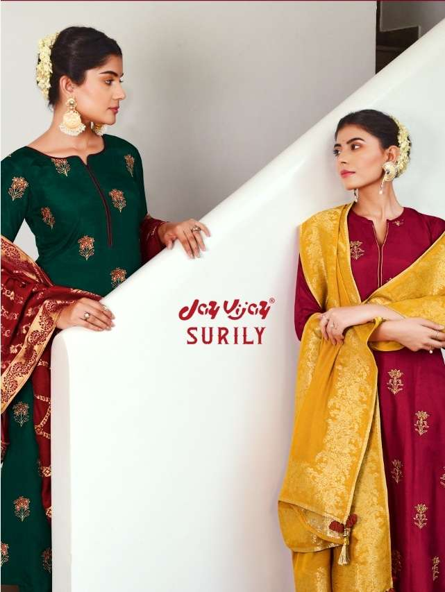 Jay Vijay Surily Bemberg Silk With Embroidery Hand Work Dress Material Collection
