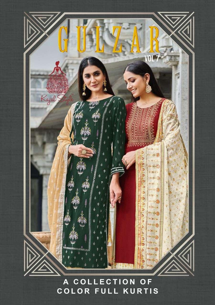 Kajal Style Gulzar Vol 7 rayon With Embroidery hand Work Kurti With Pant Dupatta Collection