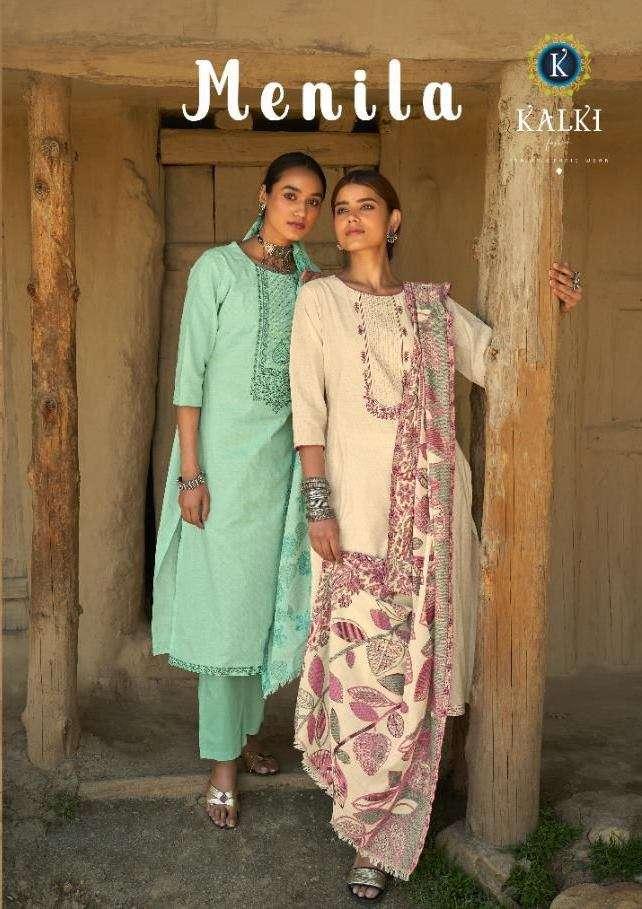 Kalki Fashion Menila Cotton print With Embroidery Work Dress material Collection