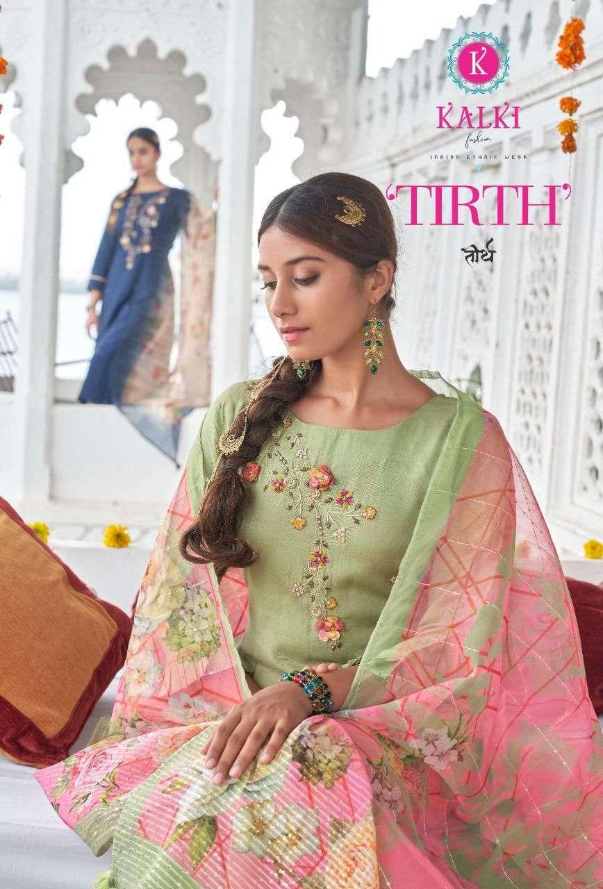 Kalki fashion Tirth Viscose Silk with hand Khatli Work Suits Collection