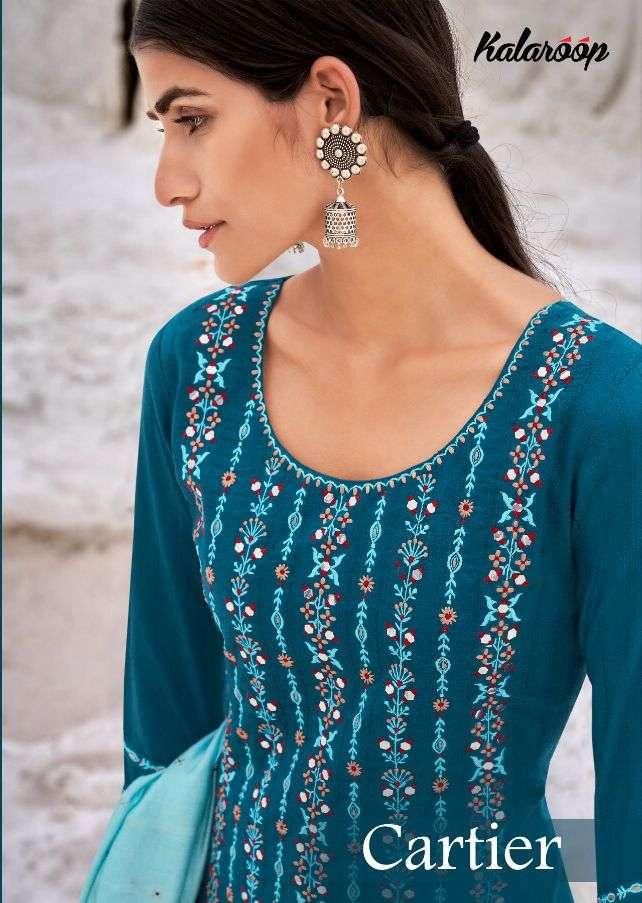 Kessi fabrics Kalaroop Cartier Lining Silk With Embroidery mirror Work Kurti With Pant Dupatta Collection