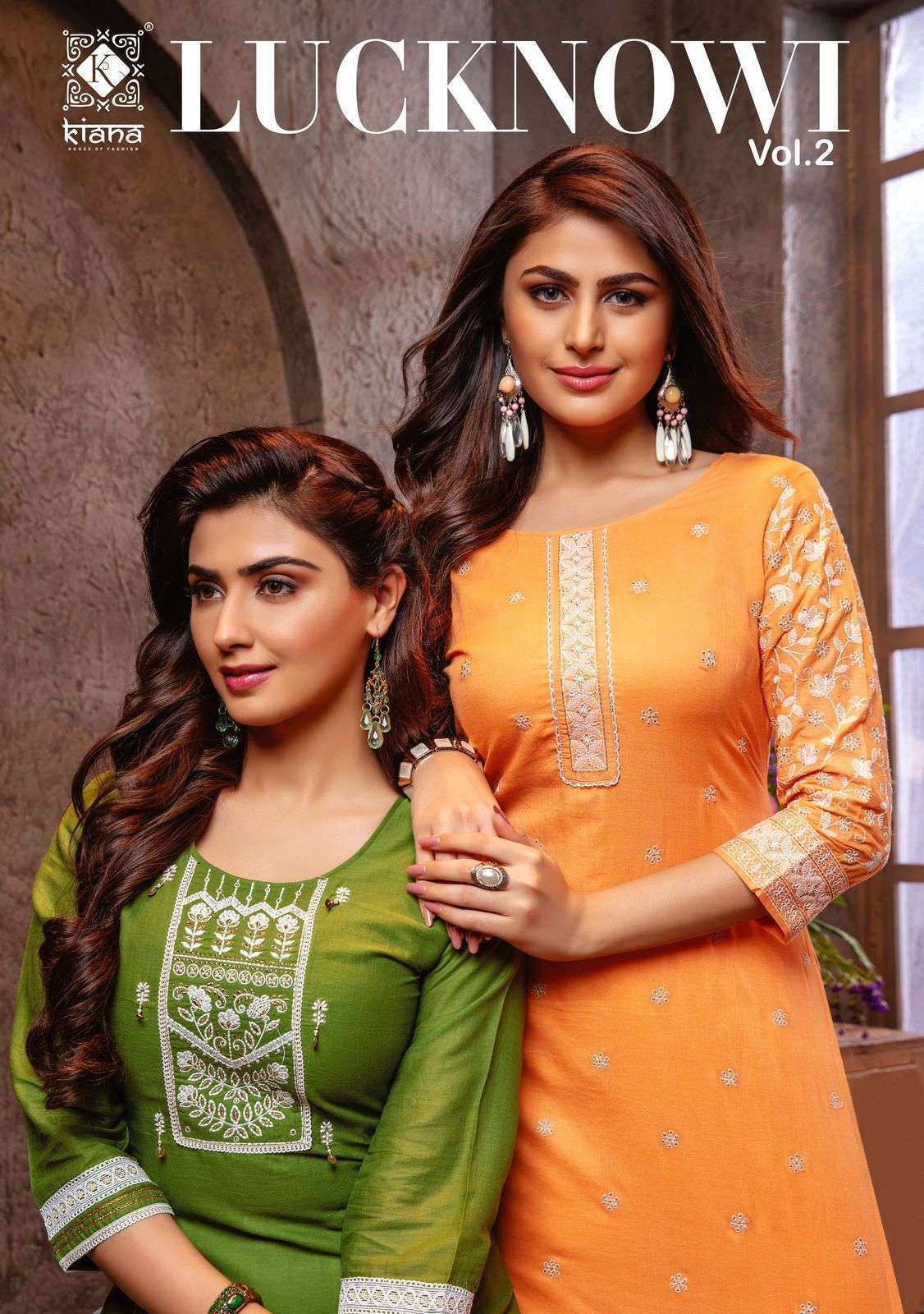 Kiana Lucknowi Vol 2 Cotton jacquard With Lucknowi Work Kurti With pant Collection