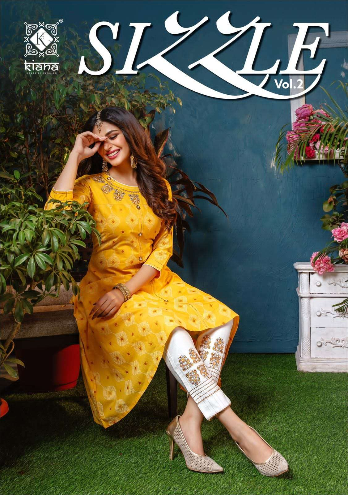 Kiana Sizzle Vol 2 Cotton Gold print With Thread Work Kurti With Bottom Collection