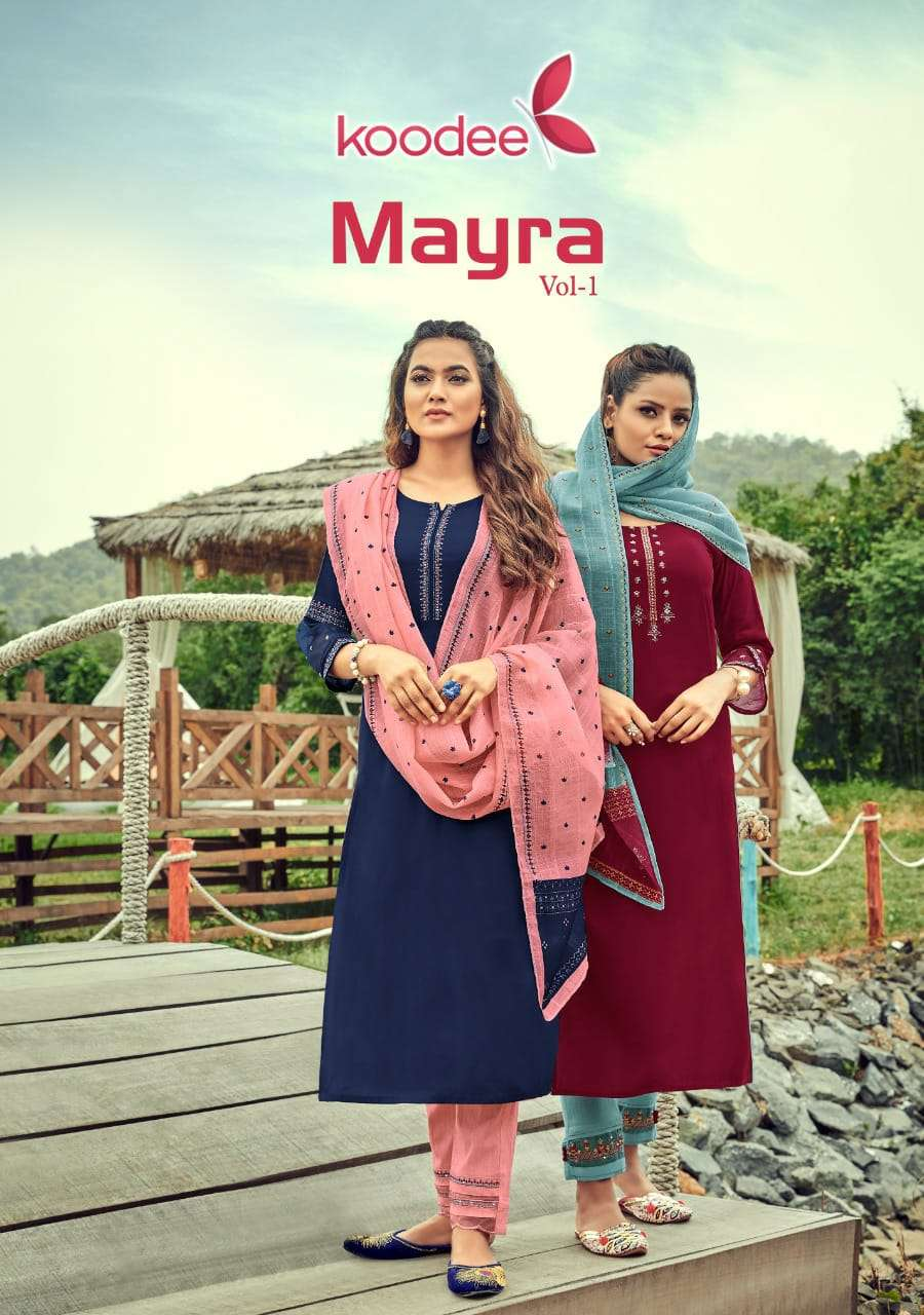 Koodee Mayra Vol 1 Rayon With Khatli Work Kurti With Bottom Dupatta Collection