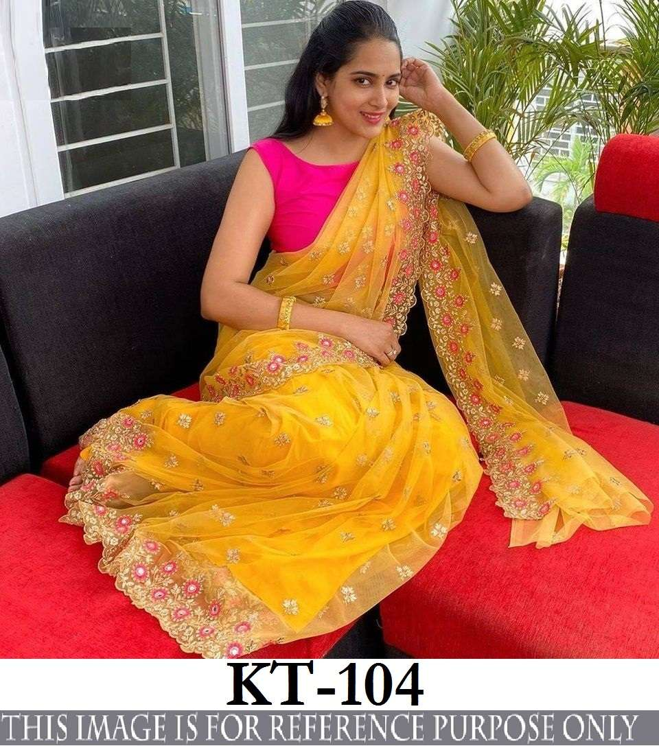 KT 104 SOFT NET WITH THREAD WORK BOLLYWOOD STYLE SAREE COLLECTION