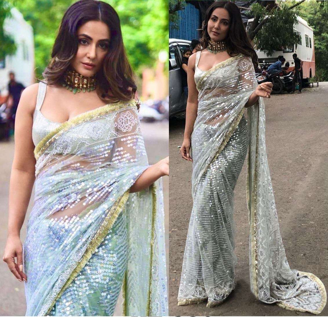 KT 230 HEAVY NAYLONE NET WITH FANCY THREAD WORK BOLLYEOOD STLY SAREE