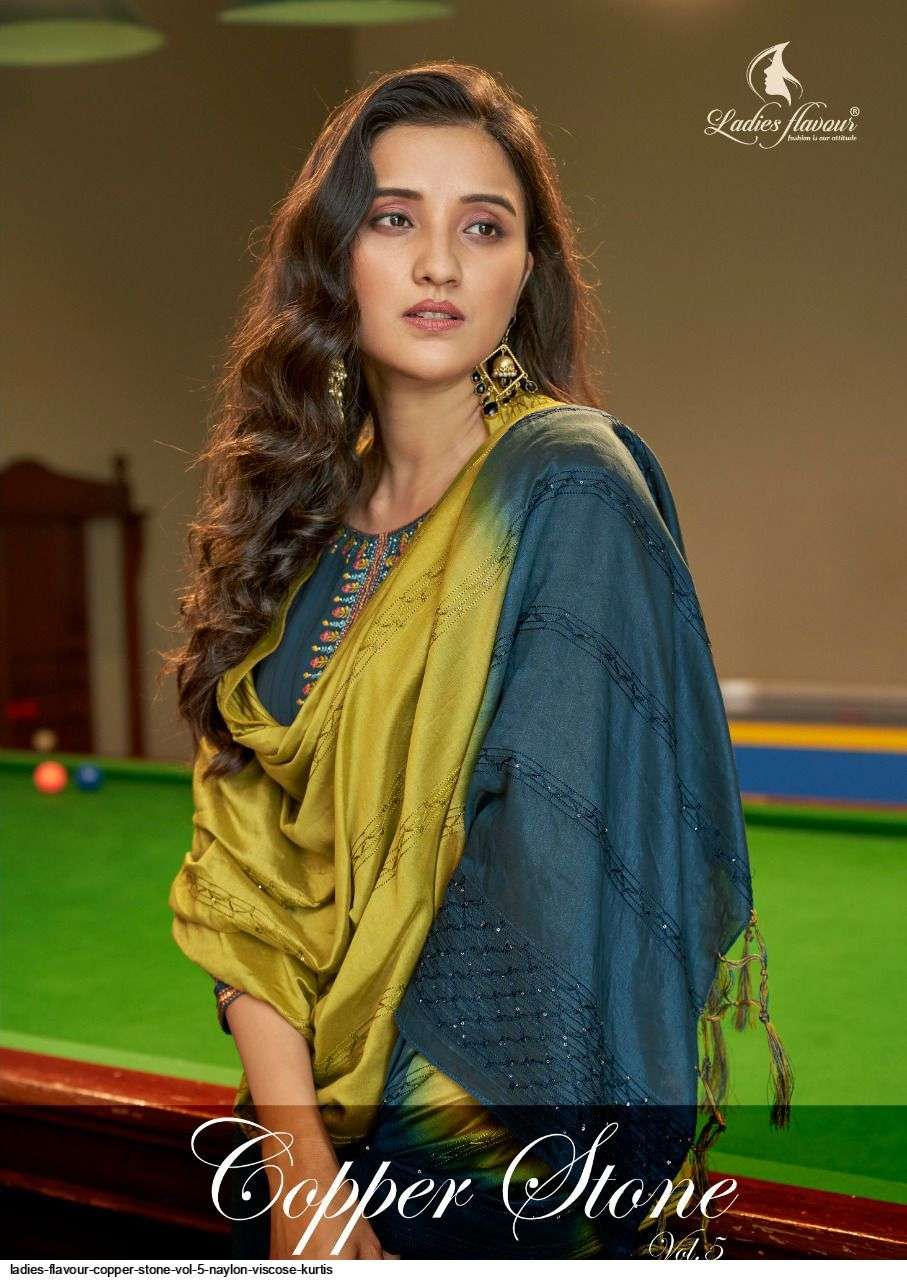 Ladies Flavour Copper Stone Vol 5 Nylon Viscose With Khatli Work readymade Suits collection