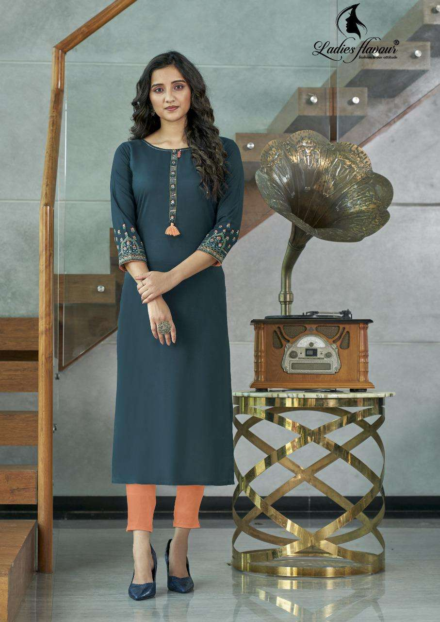 Ladies Flavour Serena Vol 5 Rayon with Embroidery Work Kurtis Collection