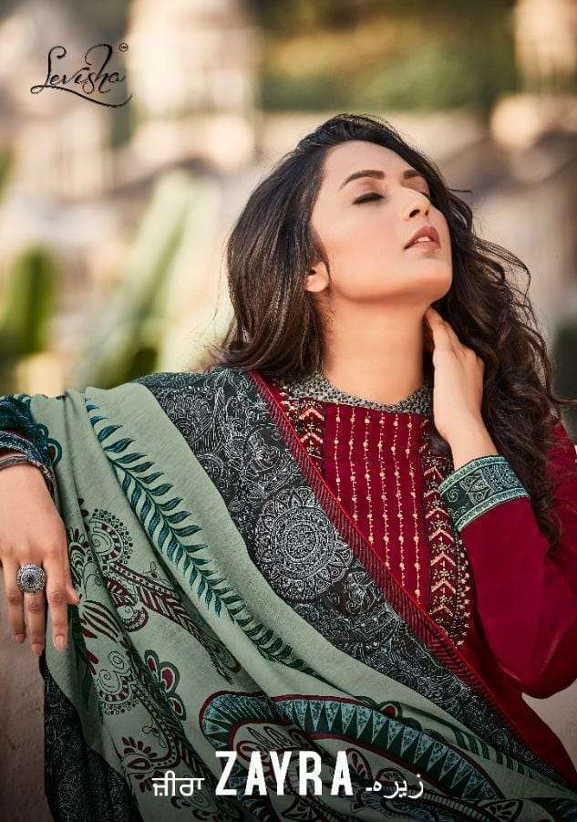 Levisha Zayra Jam Cotton With Embroidery Work Dress Material collection
