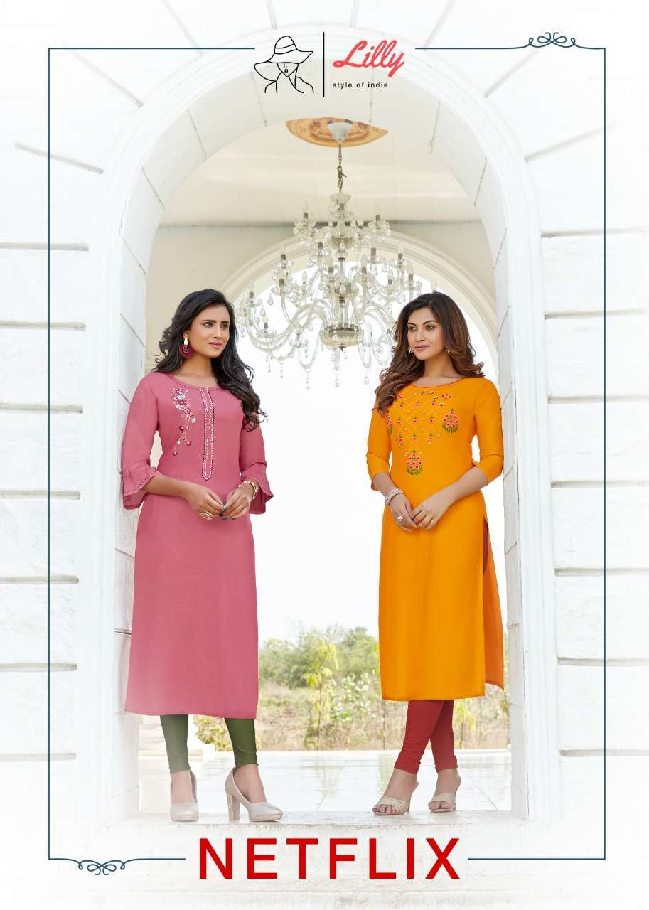 Lilly Style Of India Netflix heavy rayon With fancy Hand Work Kurti Collection