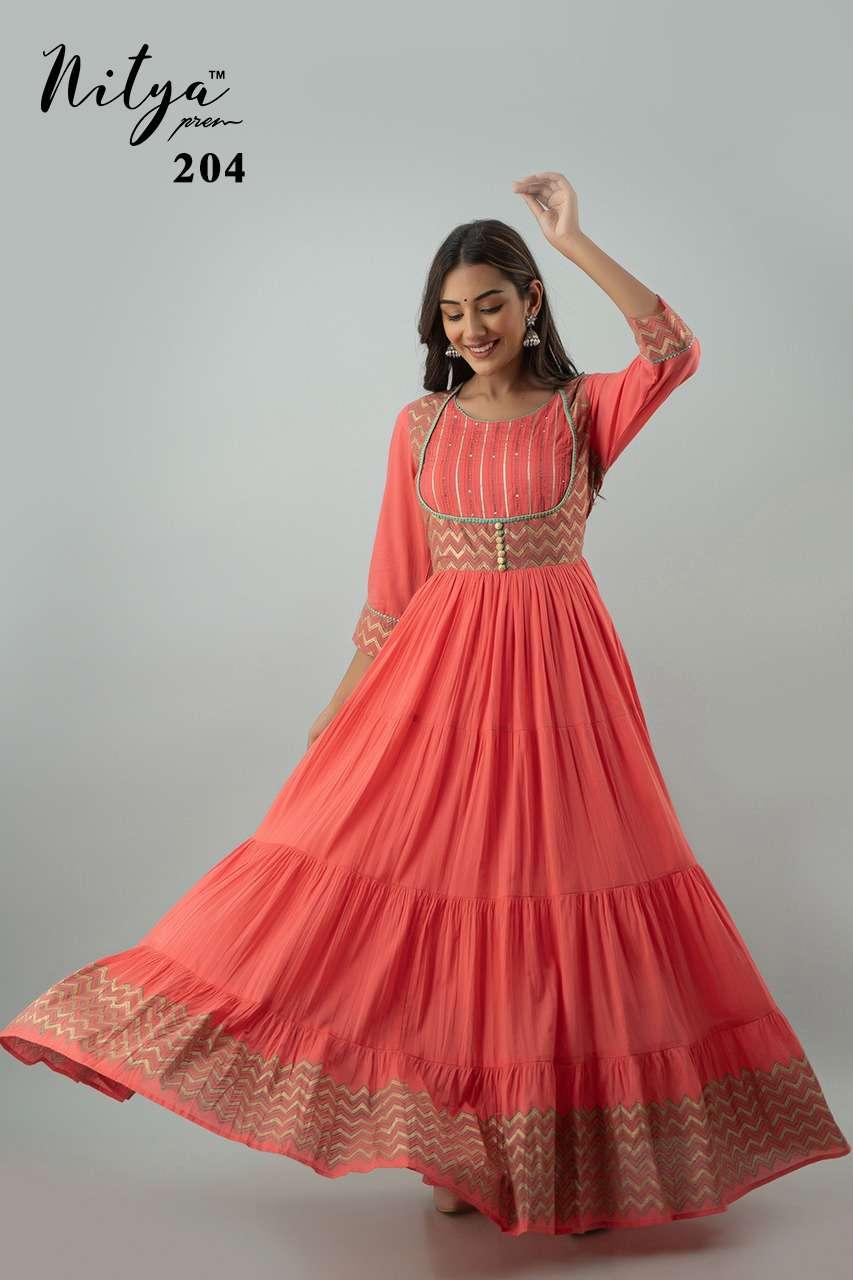LT Fabrics Nitya 204 Series Cotton Leheriya With Embroidery Work Kurtis collection