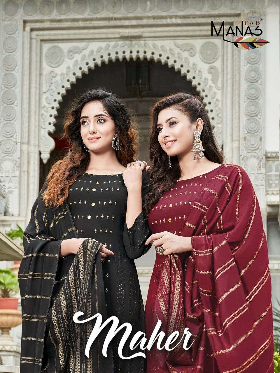 Manas Fab Meher Pure viscose Jacquard Butti Weaving Sequence Hand Work Kurti With Bottom dupatta collection
