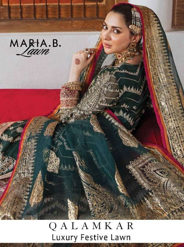 Maria B Lawn Qalamkar Luxury festive Collection Faux Georgette With Embroidery Work Pakistani Suits Collection