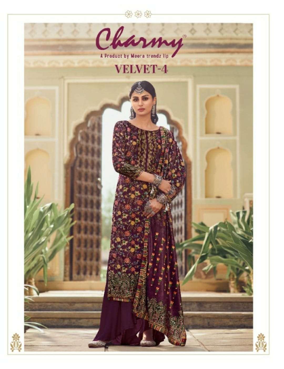 meera Trendz Charmy Velvet Vol 4 Velvet Digital Print Pashmina Suits Collection