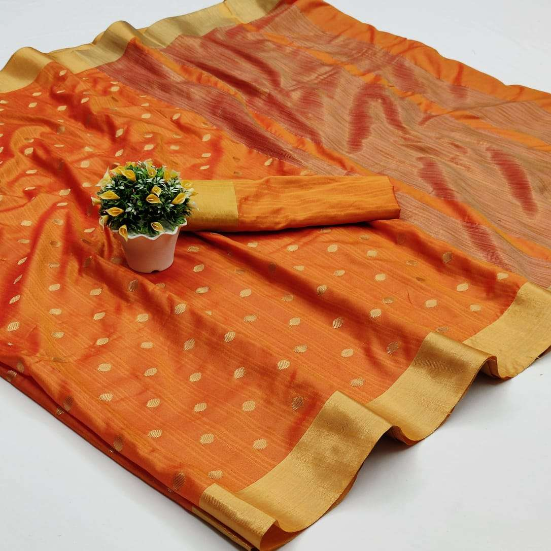 MILAN BUTTI COTTON SILK WITH JAQUARED  WEAVING BUTTI SAREE COLLECTION