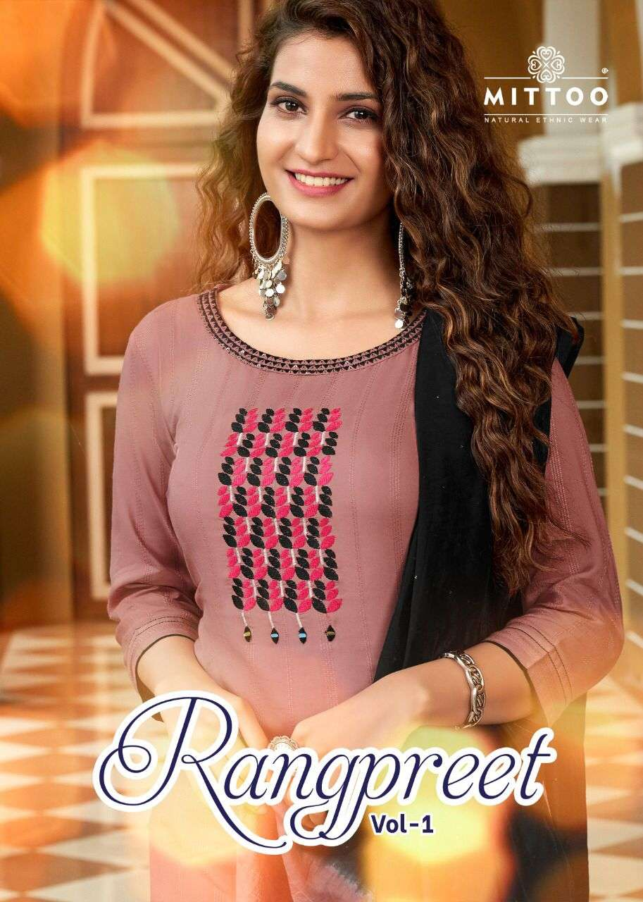 Mittoo Fashion Rangpreet Vol 1 Rayon weaving With Embroidery Hand Work kurtis With Pant Dupatta Collection