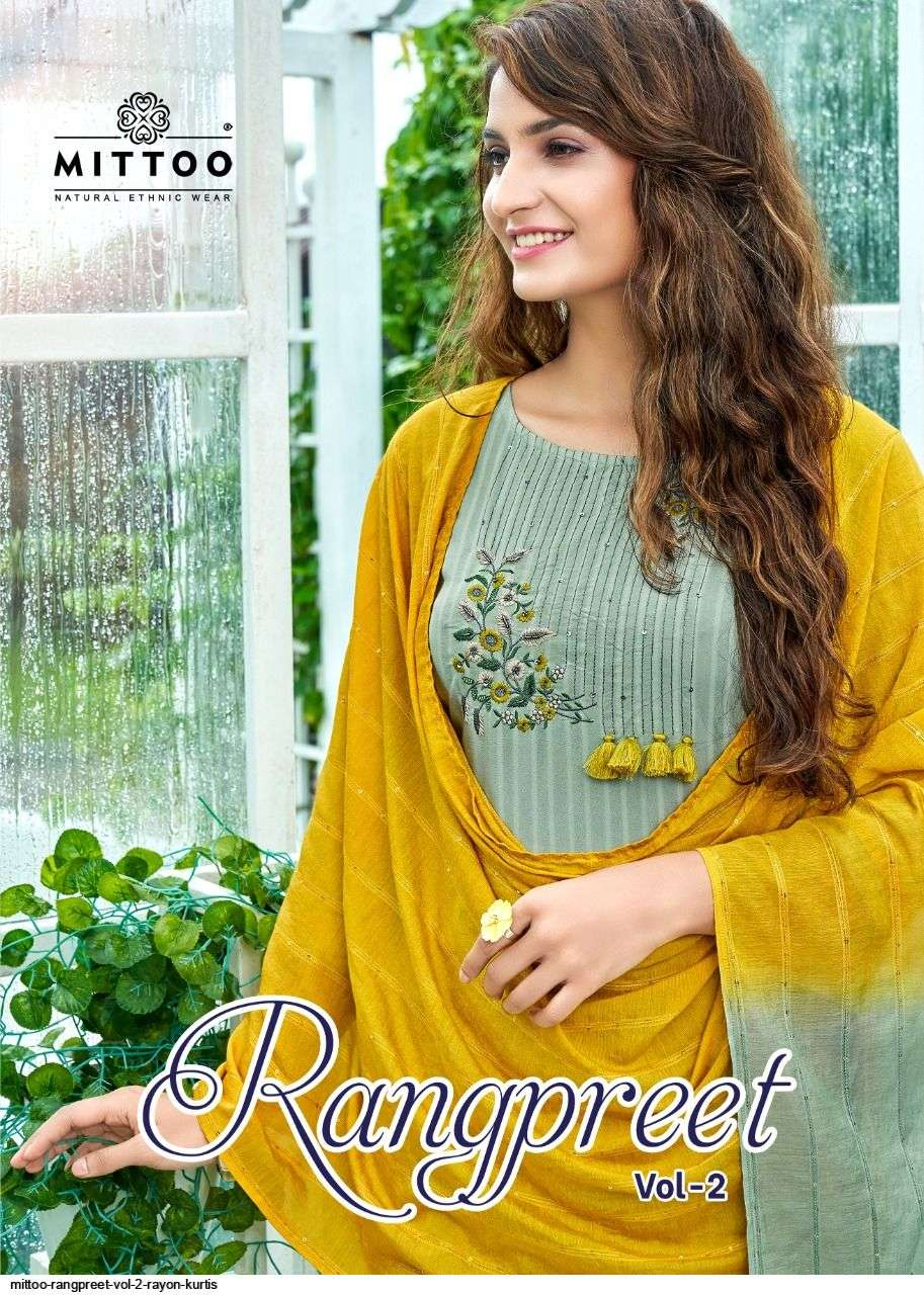 Mittoo Fashion Rangpreet Vol 2 Rayon With Embroidery hand work Kurti With Pant Dupatta Collection