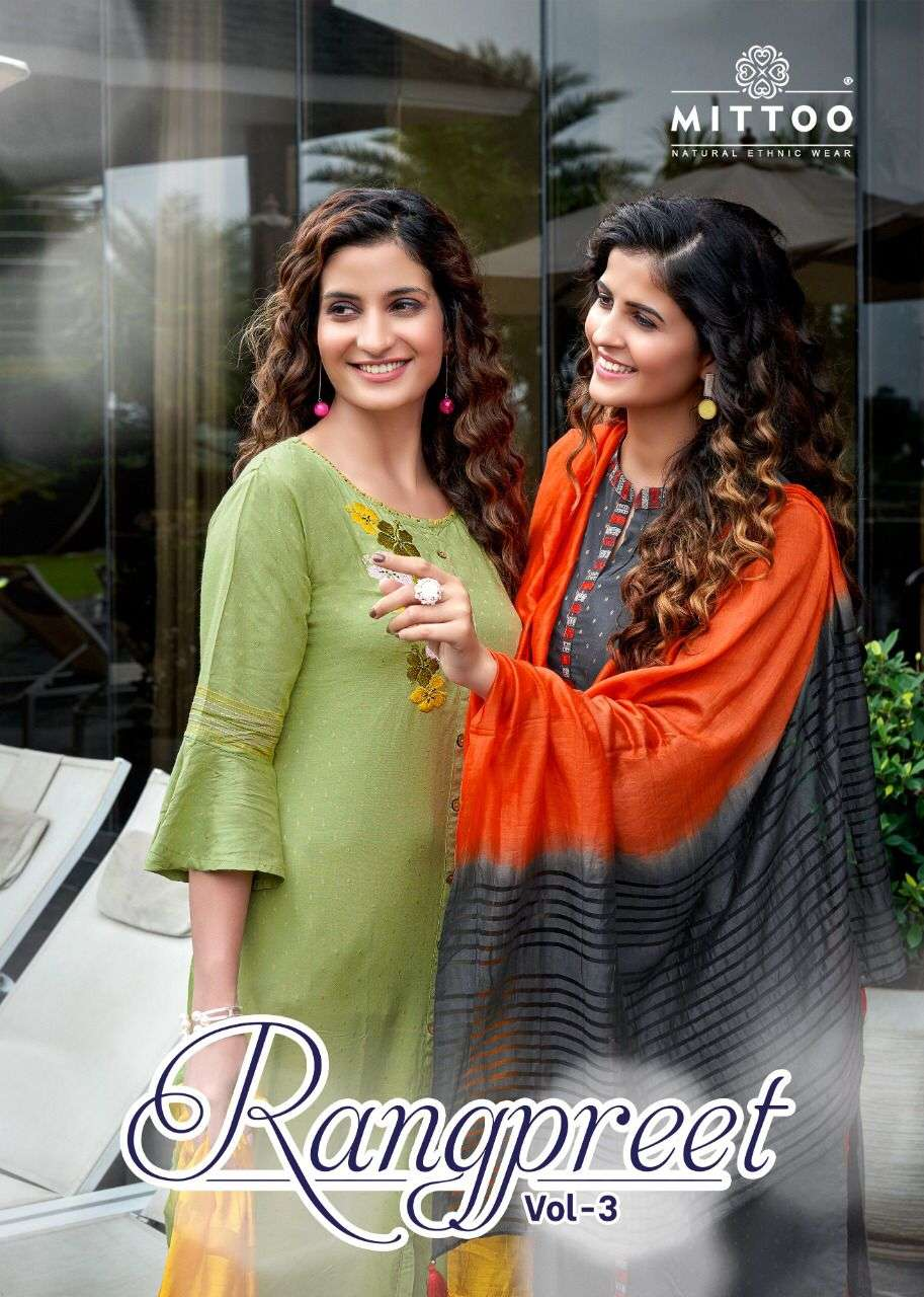 Mittoo Fashion Rangpreet Vol 3 Viscose Jacquard With Embroidery hand work Kurti With Pant Dupatta Collection