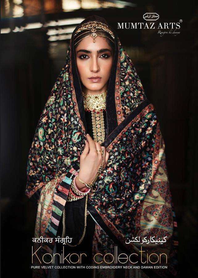 Mumtaz Arts Kanikar Collection velvet With Embroidery Work Pashmina suits Collection