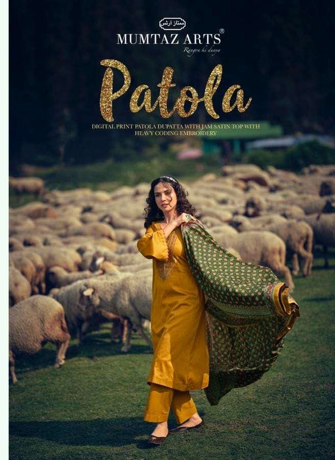 Mumtaz Arts Patola Jam Satin print With Coding Embroidery Work Dress Material Collection