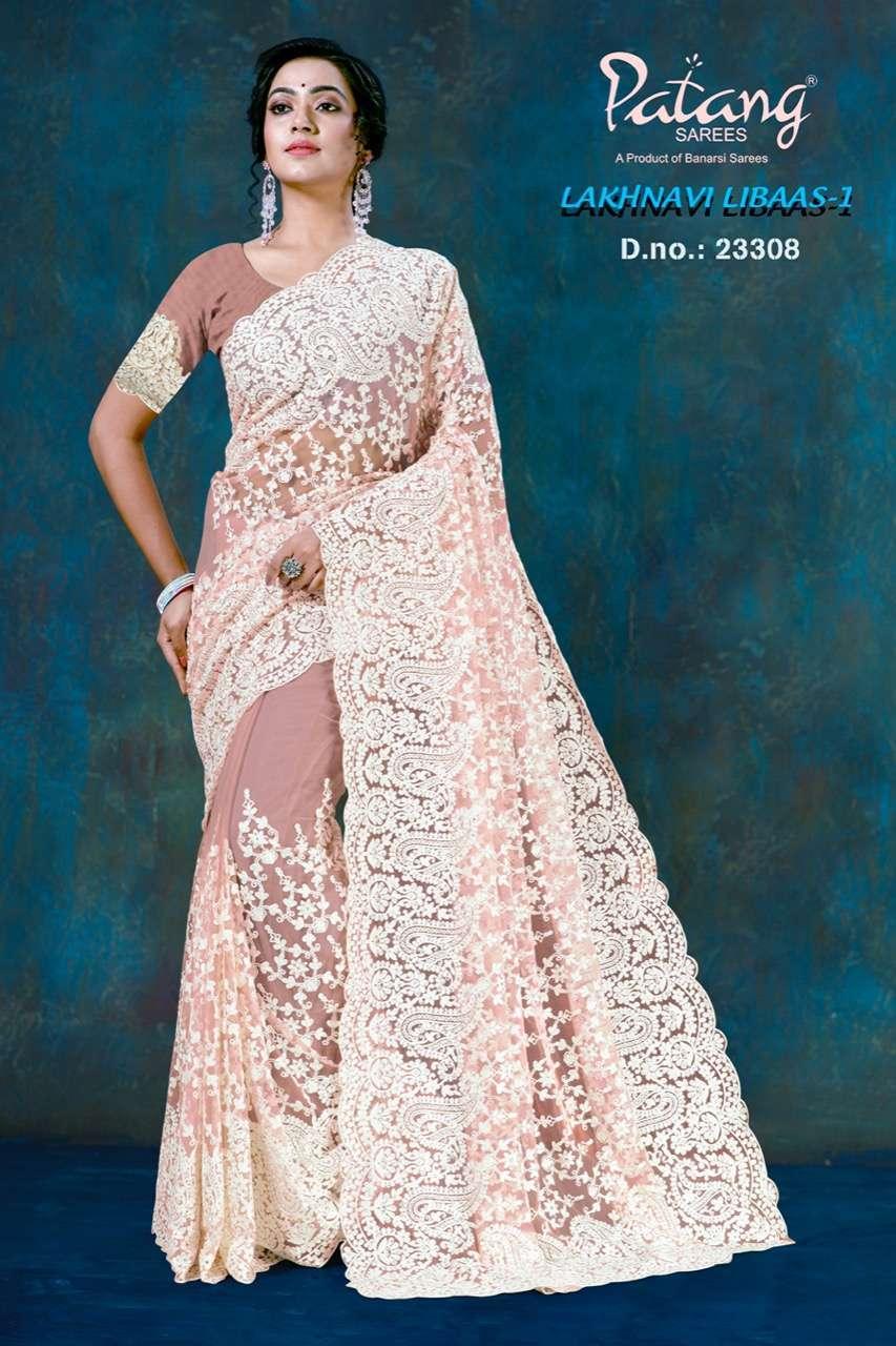 Patang Lakhnavi Libaas Vol 1 Net With Jarkan Diamond Work Sarees Collection 01