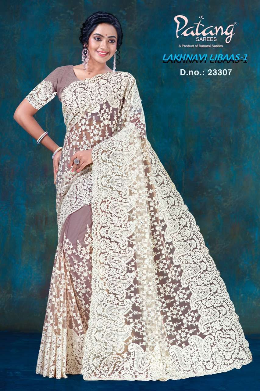Patang Lakhnavi Libaas Vol 1 Net With Jarkan Diamond Work Sarees Collection 02