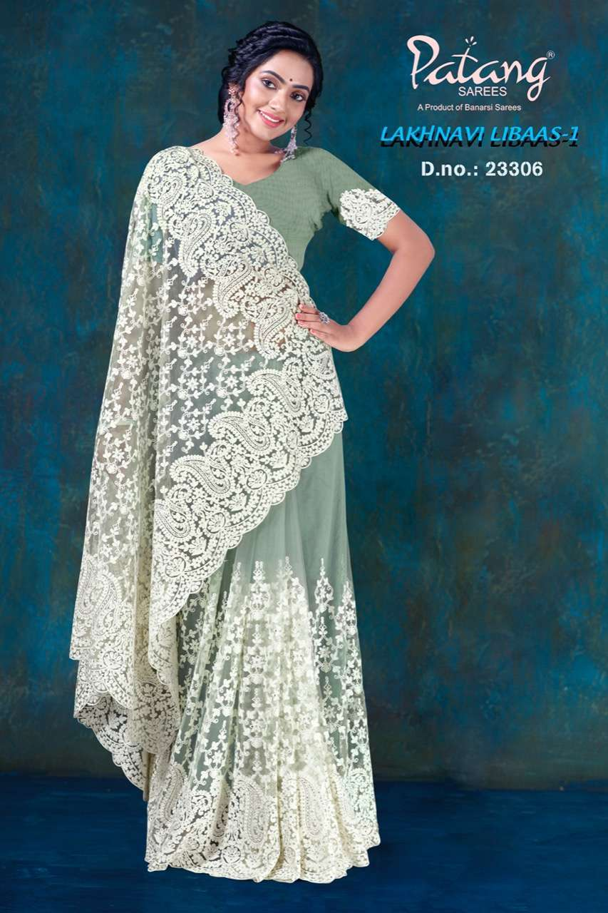 Patang Lakhnavi Libaas Vol 1 Net With Jarkan Diamond Work Sarees Collection 03