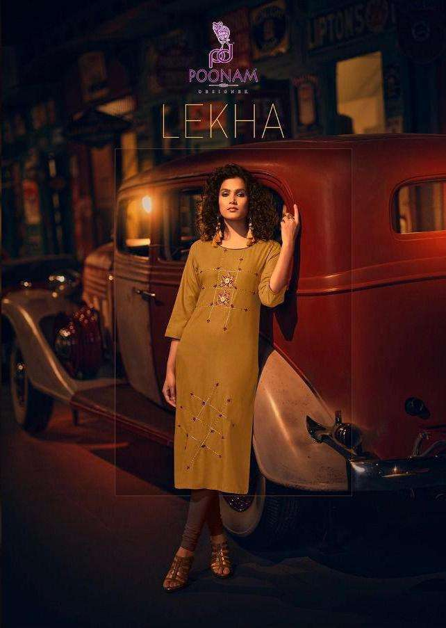 Poonam Designer Lekha Rayon With hand Work Embroidery Work Kurtis collection