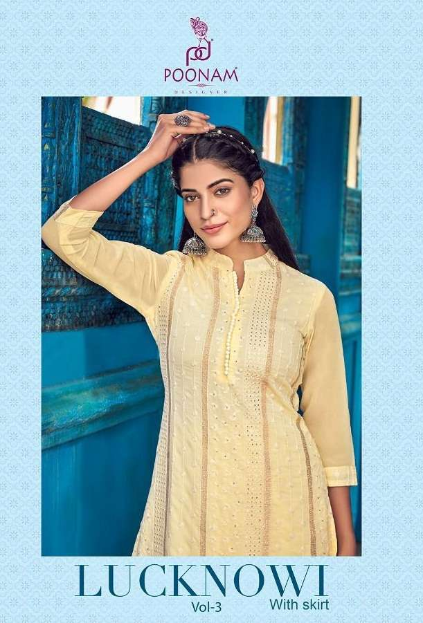 Poonam Designer Lucknowi Vol 3 Pure Georgette Lucknowi Kurti With Bottom Collection