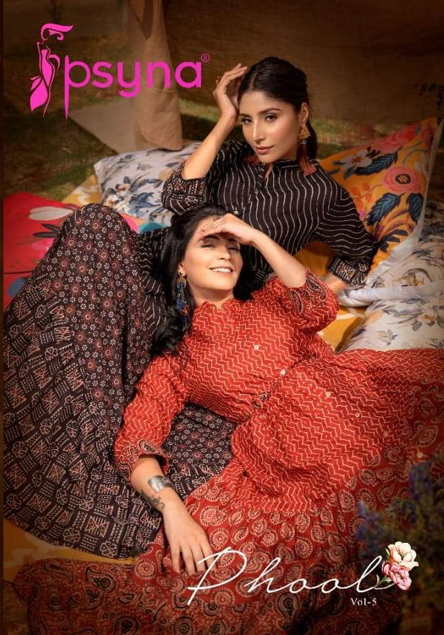 Psyna Phool Vol 5 Cotton Cambric Printed Long gown Style Kurtis Collection