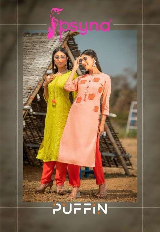 Psyna Puffin Rayon With Embroidery Hand Work Kurtis Collection