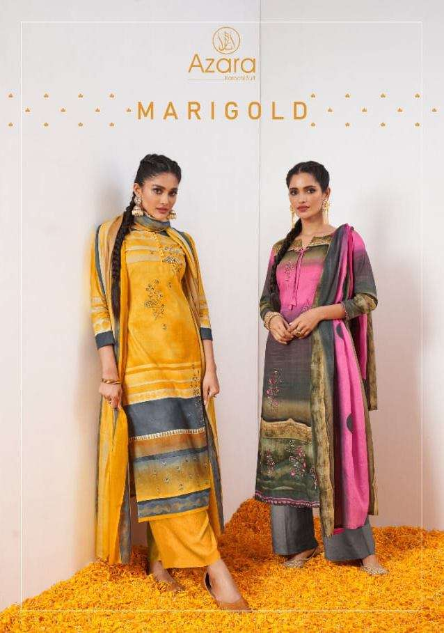 Radhika Fashion Marigold Cambric Cotton With Embroidery Work Dress Material Collection