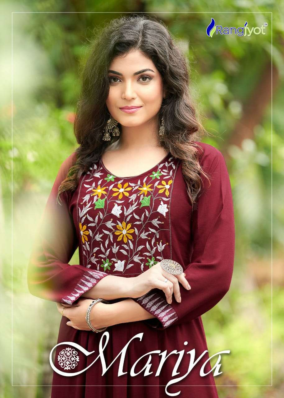 Rangjyot Maria Vol 1 Rayon With embroidery Work Kurti With Bottom Collection