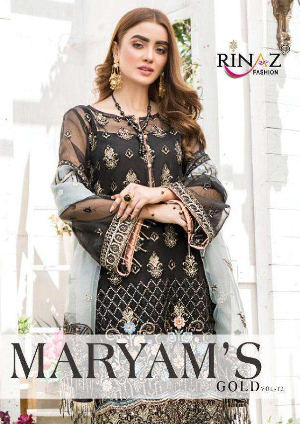 Rinaz fashion Maryams Gold Vol 12 faux georgette With Heavy Embroidery Diamond work Pakistani Suits collection