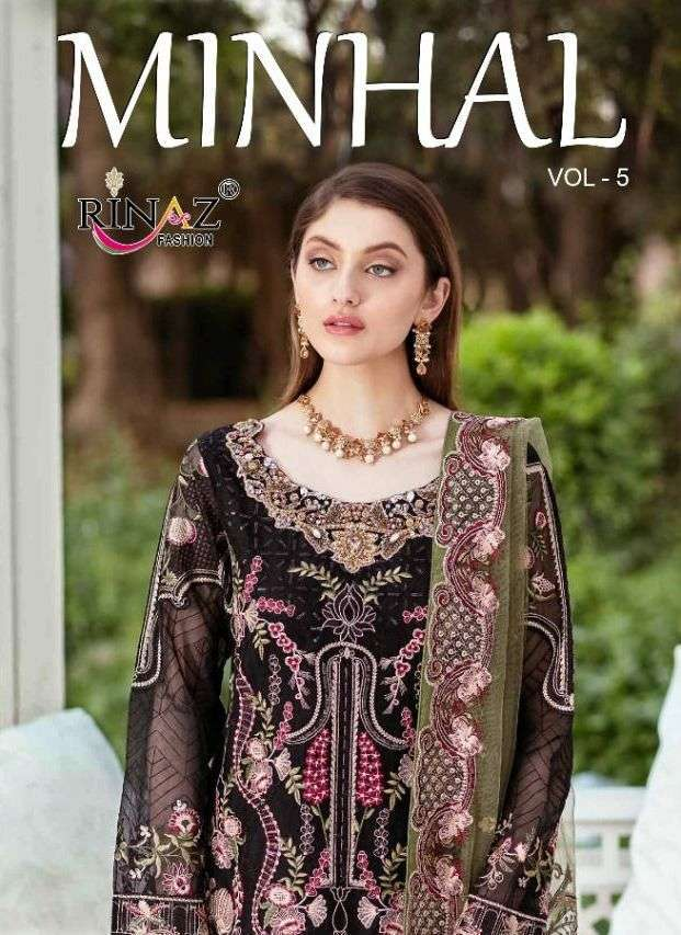 Rinaz fashion Minhal Vol 5 Faux georgette With Embroidery Work Pakistani Suits Collection