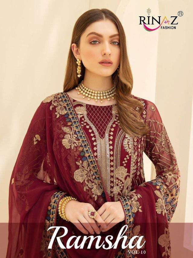 Rinaz fashion Ramsha Vol 10 Faux Georgette With Embroidery Work Pakistani Suits collection