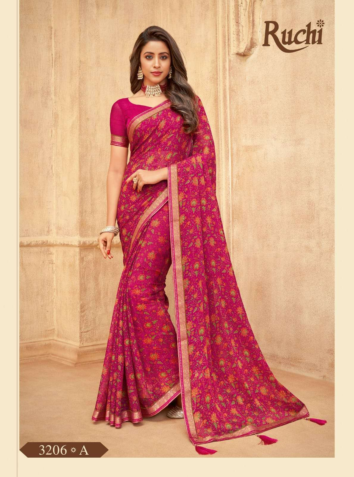 RUCHI VAANI CHIFFON WITH ATTACHED BORDER SAREE COLLECTION 01