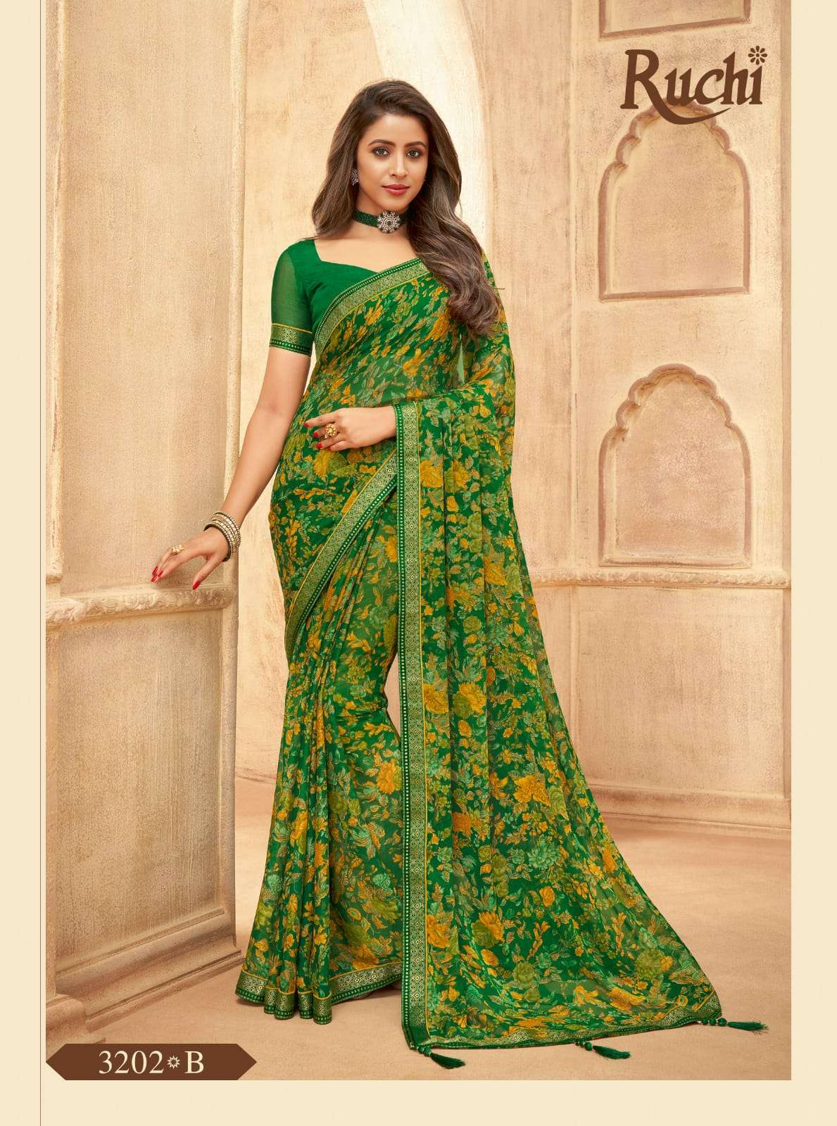 RUCHI VAANI CHIFFON WITH ATTACHED BORDER SAREE COLLECTION 010