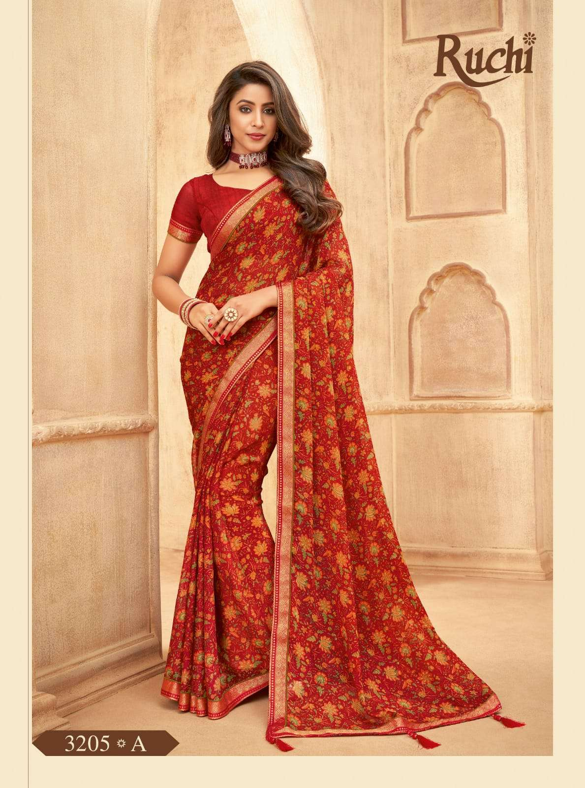 RUCHI VAANI CHIFFON WITH ATTACHED BORDER SAREE COLLECTION 011