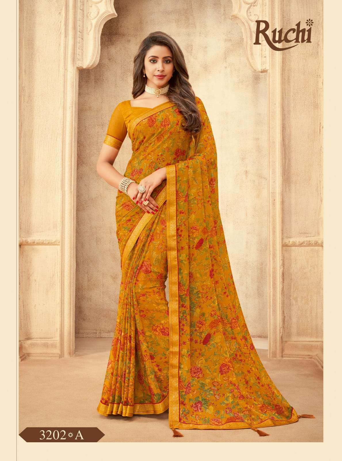 RUCHI VAANI CHIFFON WITH ATTACHED BORDER SAREE COLLECTION 012